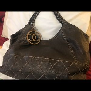 Chanel dark brown leather handbag